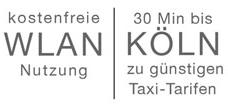 Kostenfreie WLAN Nutzung und 30 Minuten bis Köln zu günstigen Taxitarifen