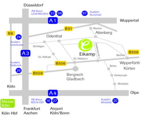 Modellkarte zur Orientierung - Anfahrt Hotel Eikamper Höhe